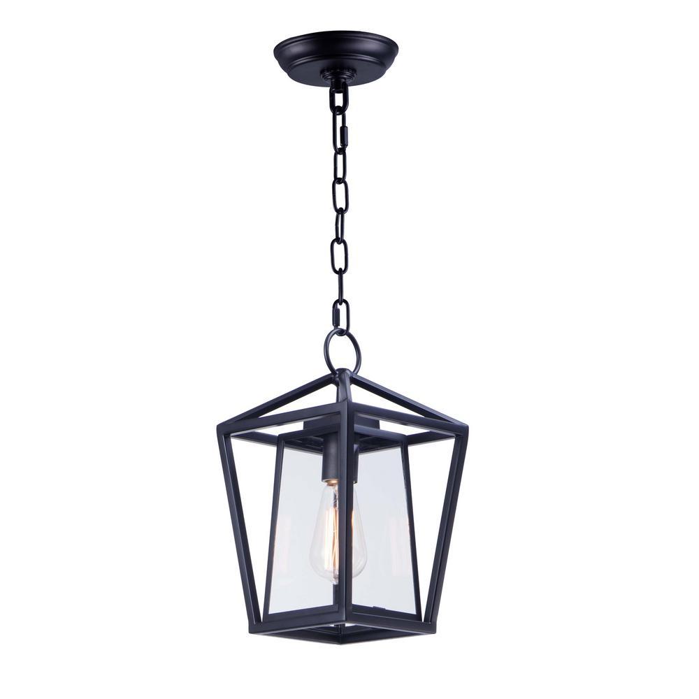 Artisan 8 in. Wide Black 1-Light Outdoor Hanging Lantern
