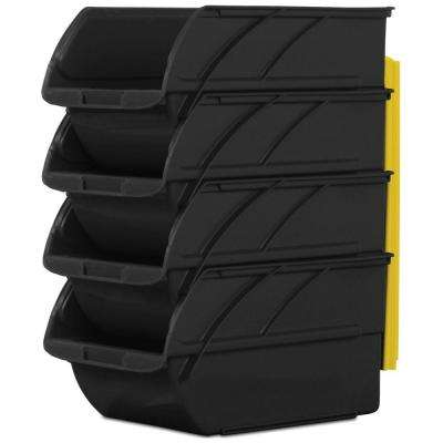 Number-3 5-9/10 in. Stackable and Mountable Storage Bins, Black (4-Pack) with Hangers