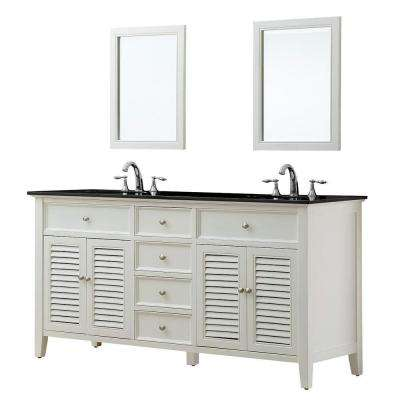 Shutter 70 in. Double Vanity in Pearl White with Granite Vanity Top in Black and Mirror