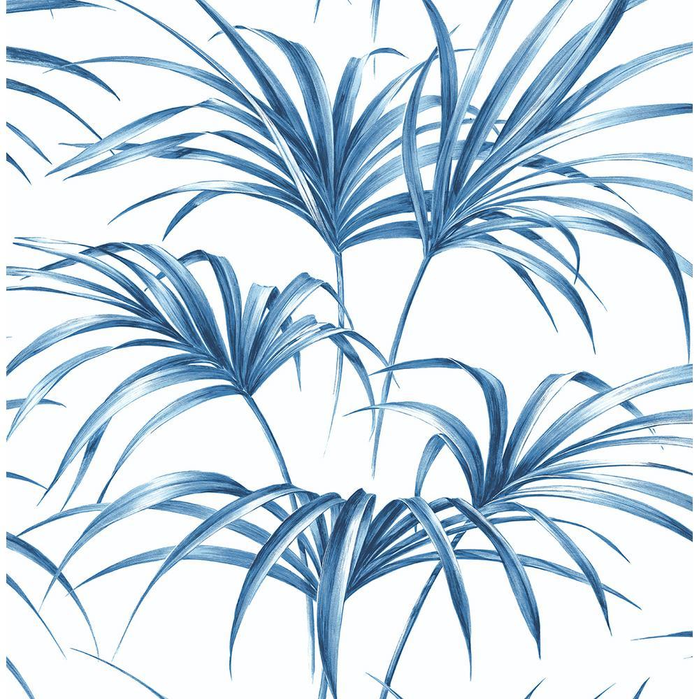 Coastal Blue Tropical Palm Leaf Peel and Stick Wallpaper 30.75 sq. ft.