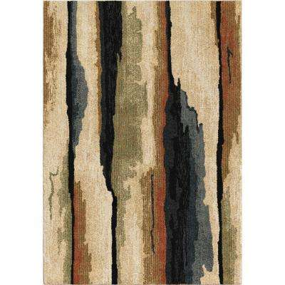 Colored Bark Plush Abstract Beige 5 ft. x 8 ft. Area Rug