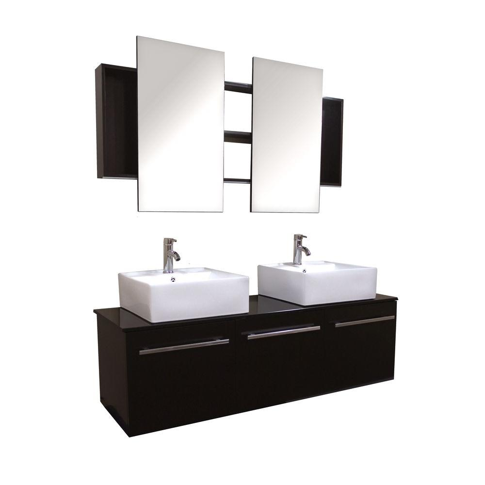 Double Vanity Espresso Glass Vanity Top Black Double Mirrors