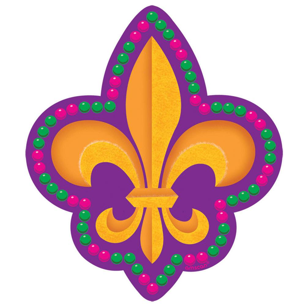 Amscan 8 in. Mardi Gras Paper Fleur de Lis Cutout (29-Pack) Get your Mardi Gras groove on with these small Fleur de Lis cutouts on glossy paper. Transform any room in no time with these Fleur de Lis cutouts. Gold Fleur de Lis icons pop off of a purple background. Pink and green beads ring the die cut edges, making this decoration a perfect paste-up for Mardi Gras.