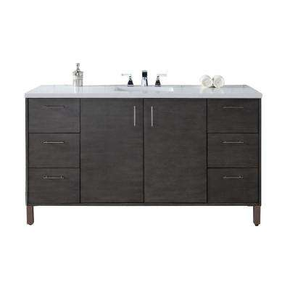 Metropolitan 60 in. W Single Vanity in Silver Oak with Quartz Vanity Top in White with White Basin