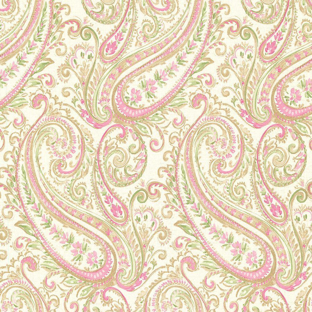 Brewster Penelope Pink Paisley Wallpaper Sample 2686