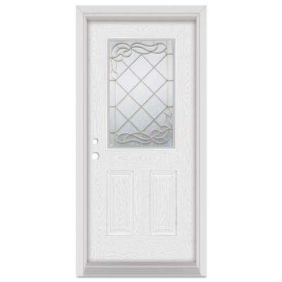37.375 in. x 83 in. Art Deco Right-Hand Inswing 1/2 Lite Brass Finished Fiberglass Oak Woodgrain Prehung Front Door