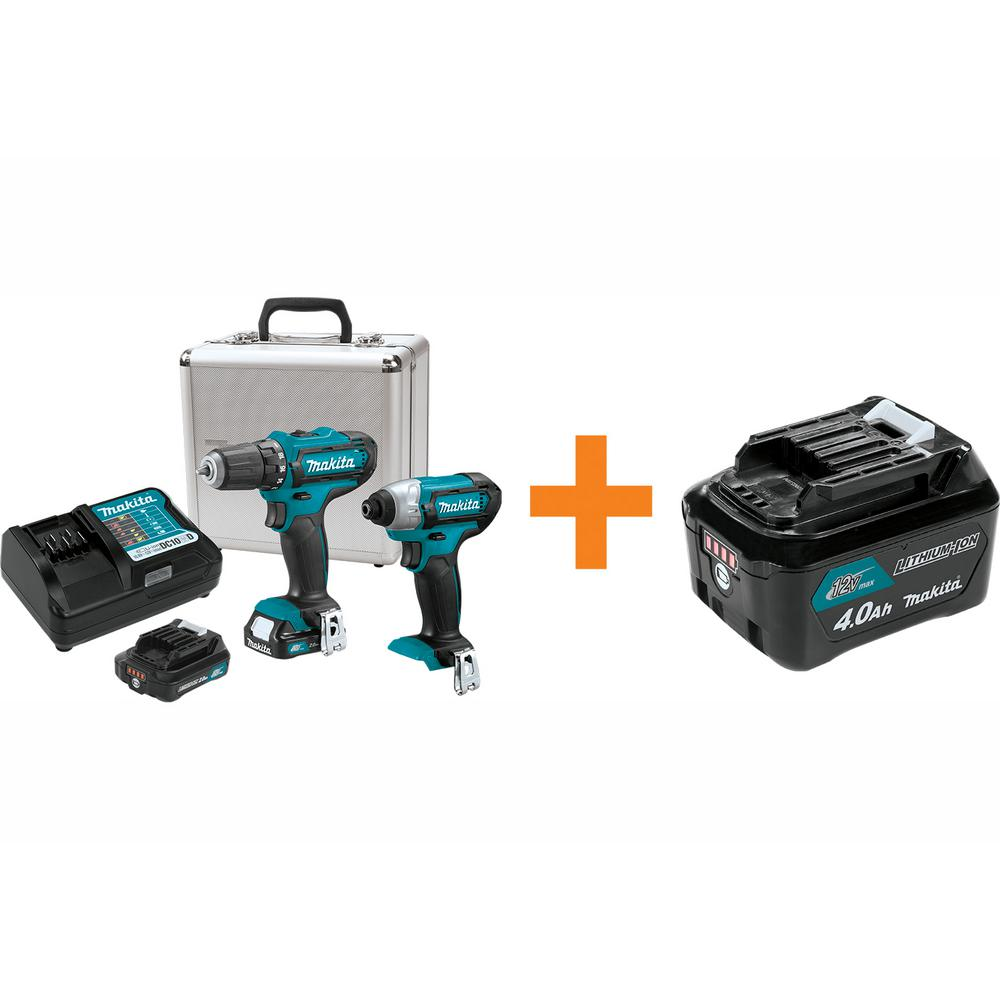 Makita 12-Volt MAX CXT Cordless Impact Driver/Drill Combo Kit (2-Pc) with Two 2.0 Ah Battery Charger Case/Bonus 4.0Ah Battery