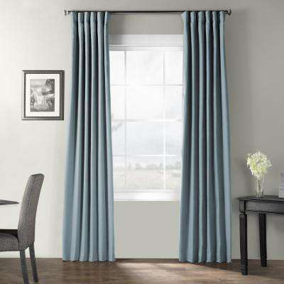 Dusky Blue Bark Weave Solid Cotton Curtain - 50 in. W x 120 in. L