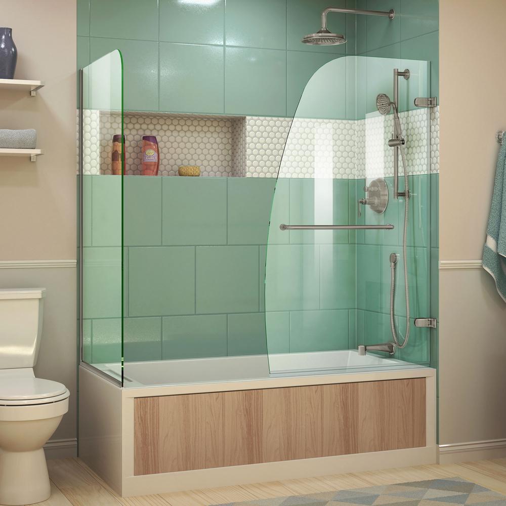 Aqua Uno 60 in. x 58 in. Semi-Frameless Hinged Tub/Shower Door in Brushed Nickel