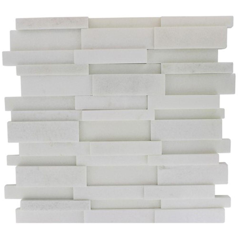 Dimension 3D Brick White Thassos Marble 12 in. x 12 in.