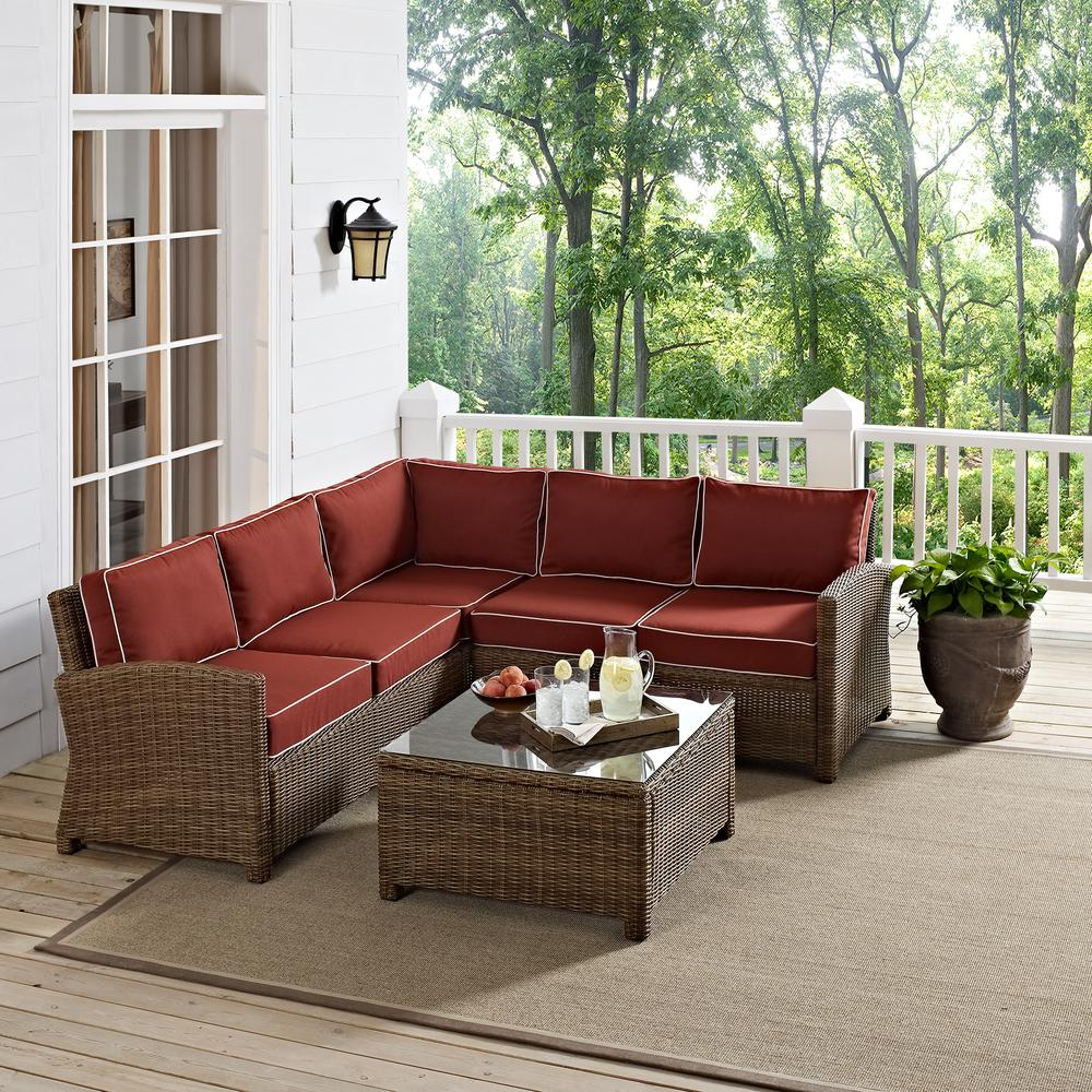 Crosley Bradenton 4-Piece Wicker Outdoor Sectional Set with Sangria Cushions