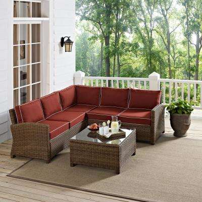 Bradenton 4-Piece Wicker Outdoor Sectional Set with Sangria Cushions