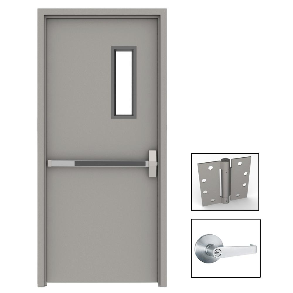 36 in. x 80 in. Gray Flush Exit with 5x20 VL Left-Hand Fireproof ...