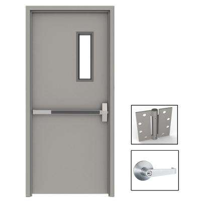 36 in x 80 in Gray Flush Exit with 5x20 VL Left Hand For Your Plan - Modern Steel Entry Doors with Glass Top Design