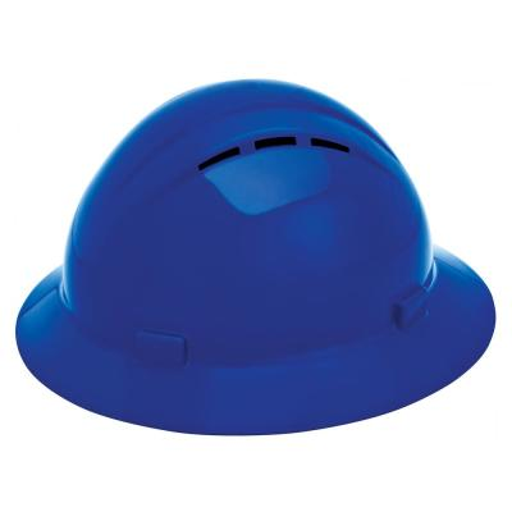 Americana Vent 4 Point Nylon Suspension Mega Ratchet Full Brim Hard Hat in Blue