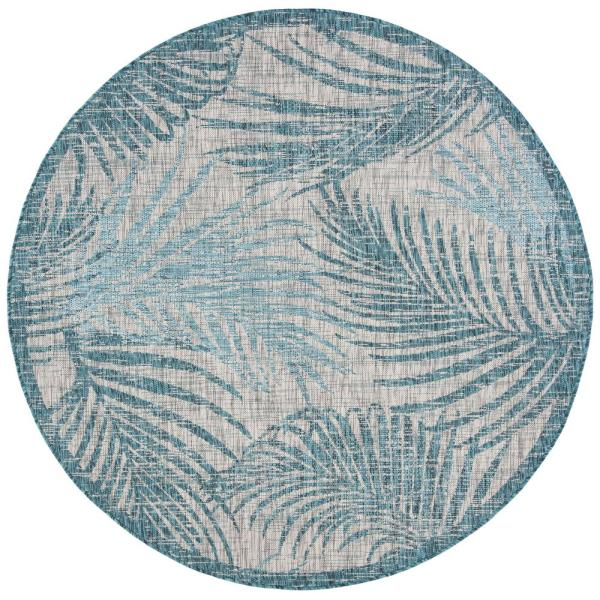 Safavieh Courtyard Gray Aqua 7 Ft X 7 Ft Indoor Outdoor Round Area Rug Cy8557 37212 7r The Home Depot