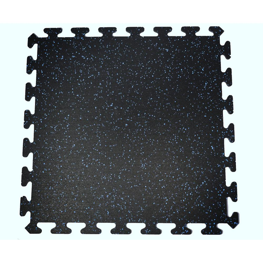 Black With Blue Speck 24 In By Interlocking Recycled Rubber Floor Tile Sq Ft Ezflex8bl The Home Depot