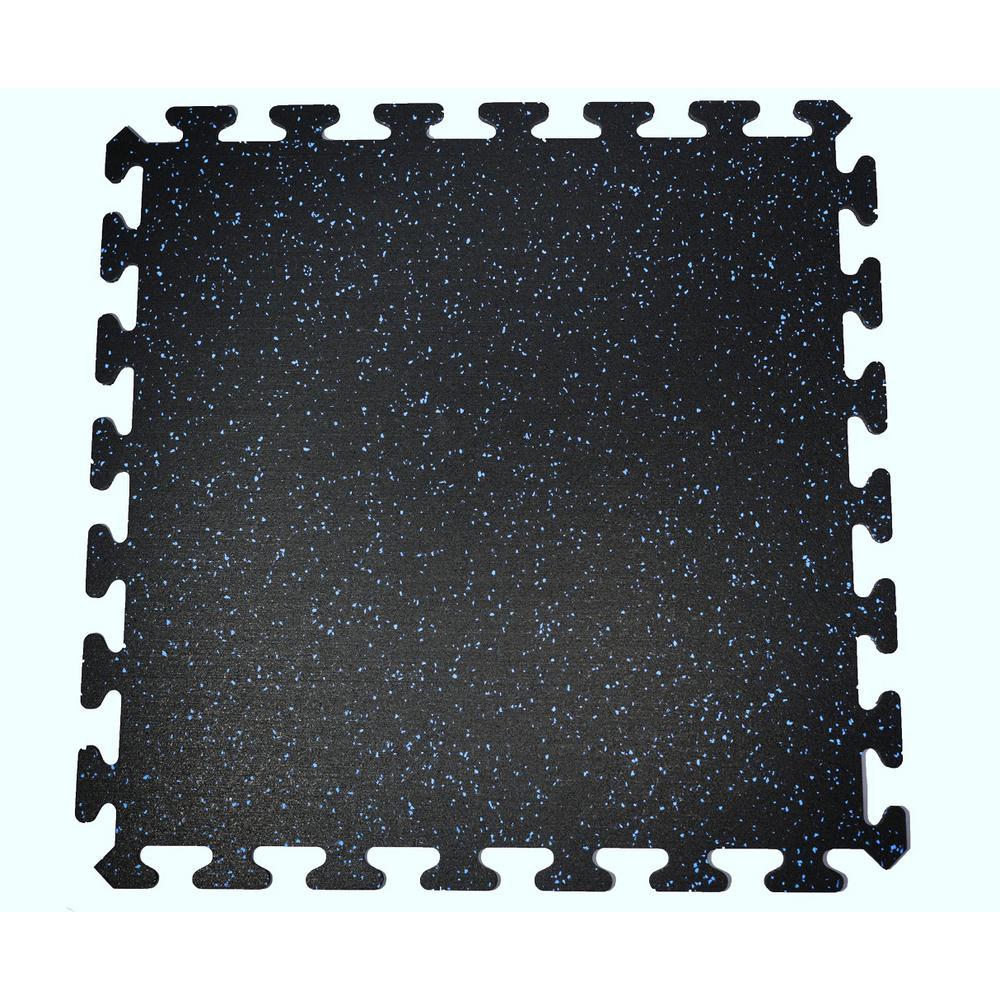 Rubber interlocking floor tiles