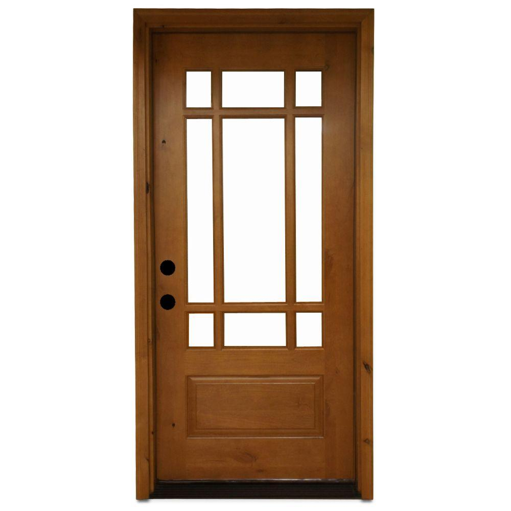 Steves sons 36 in x 80 in craftsman 9 lite stained for Wood and glass front entry doors