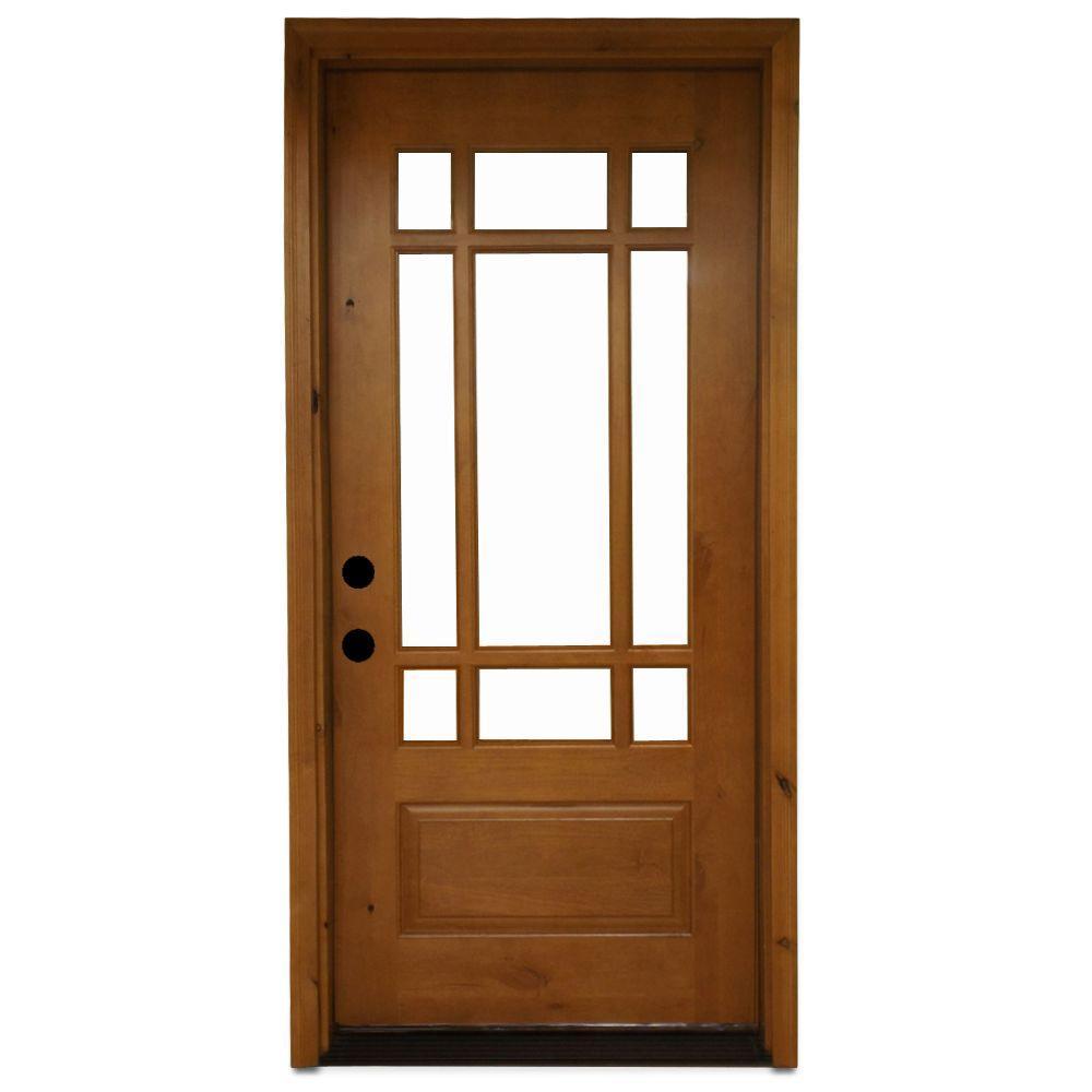 Craftsman 9 Lite Stained Knotty Alder Wood Prehung Front Door