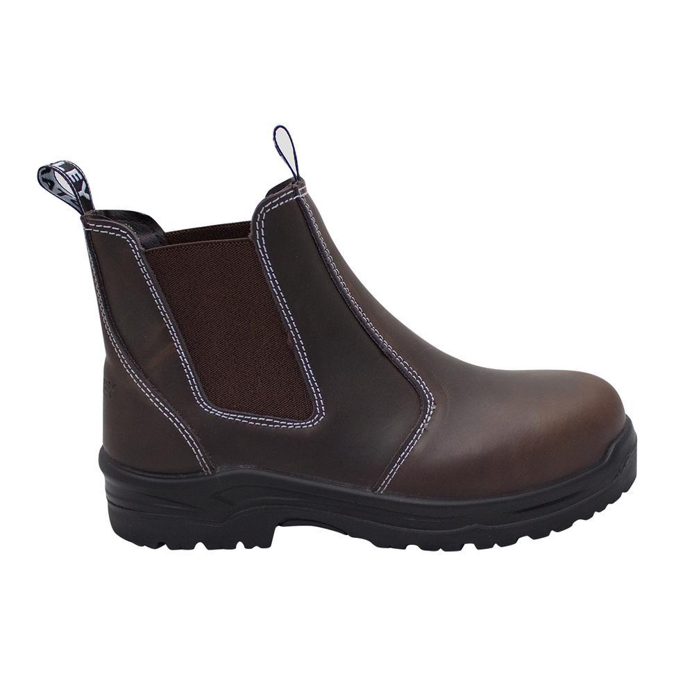 Dredge Women's Size 7 Brown Leather Steel Toe Chelsea Work Boot