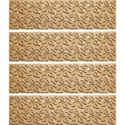 Gold 8.5 in. x 30 in. Dogwood Leaf Stair Tread Cover (Set of 4)