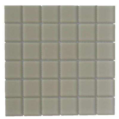Evermore Beige 2 in. x 2 in. Frosted Glass Mosaic Floor and Wall Tile ( 1 Sheet/ 1 sq.ft./ Sheet)