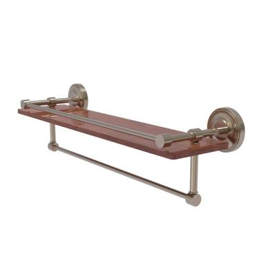 Prestige Regal Collection 22 in. IPE Ironwood Shelf with Gallery Rail and Towel Bar in Antique Pewter
