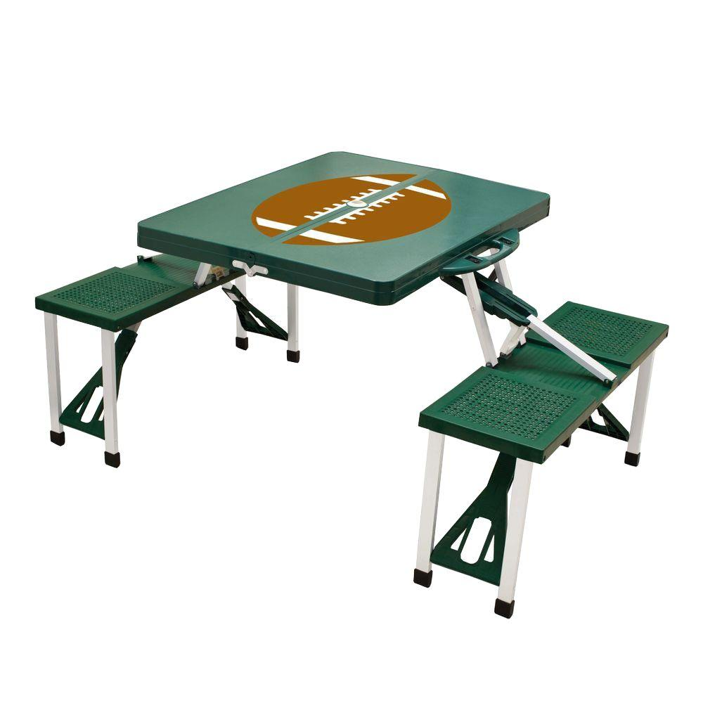Hunter Green Sport Compact Patio Folding Picnic Table with Football Pattern