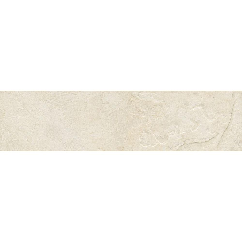 ELIANE Mt. Everest Bianco 3 in. x 12 in. Glazed Porcelain Floor and Wall Bullnose Tile