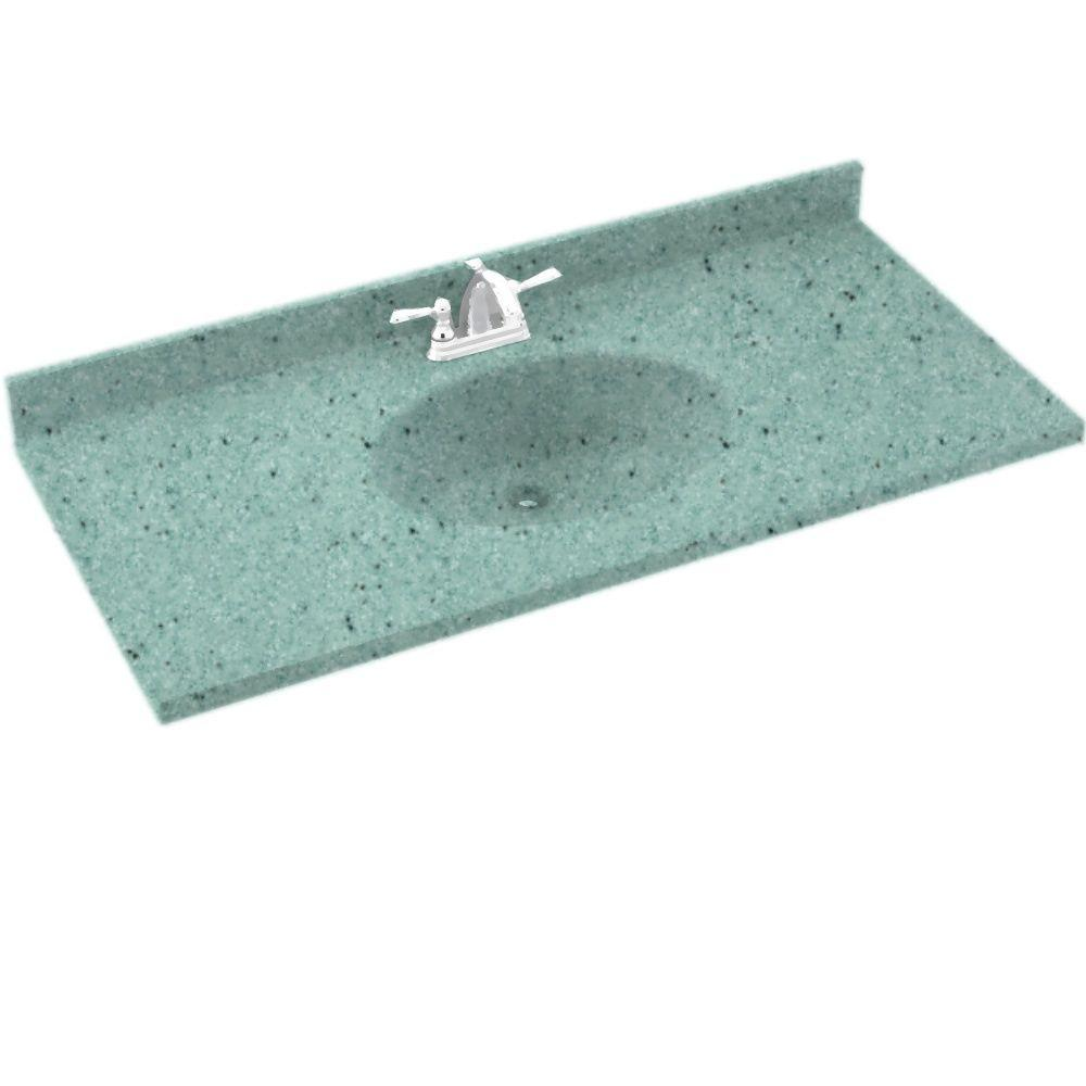 Swanstone Chesapeake 55 in. Solid Surface Vanity Top with Basin in Tahiti Evergreen-DISCONTINUED