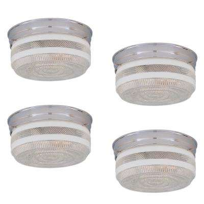 2-Light Chrome Flushmount with Clear Textured Shade (4-Pack)