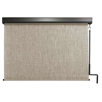Carmel Premium PVC Fabric Cordless Exterior Roller Shade Crank Operated with Protective Valance - 48 in. W x 96 in. L