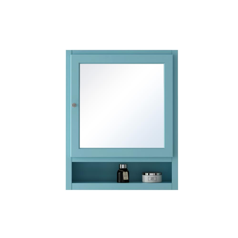 Home Decorators Collection Ridgemore 24 in. W Mirrored 30 in. H x 24 in. W x 6.5 in. D Wall Cabinet in Sea Glass