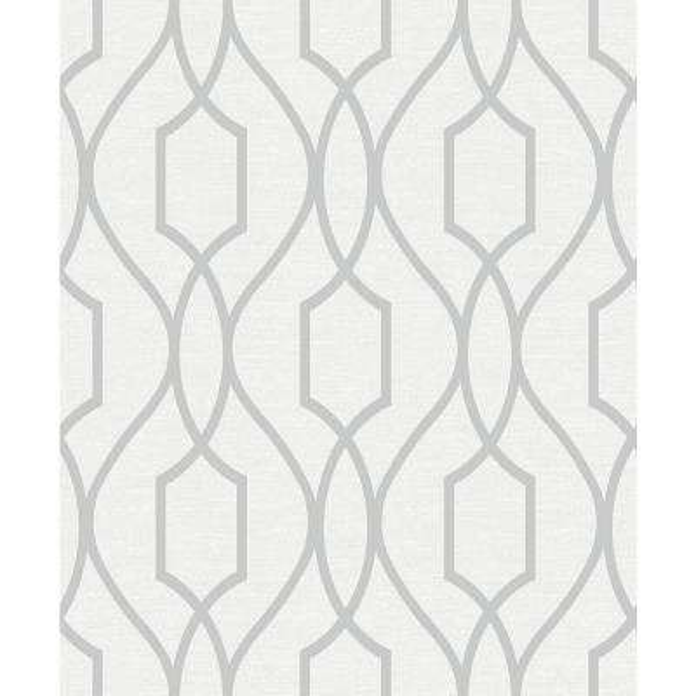 56.4 sq. ft. Evelyn Silver Trellis Wallpaper