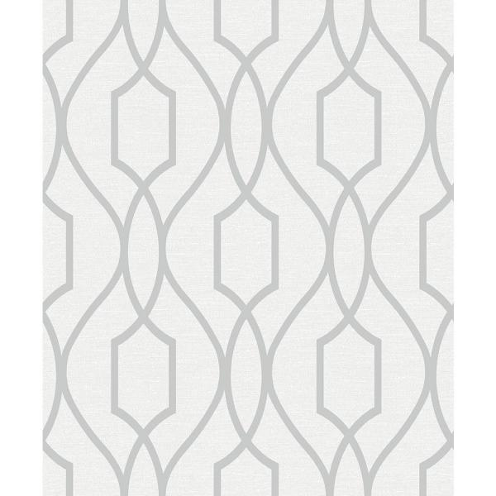 Silver Trellis Wallpaper: Advantage 56.4 Sq. Ft. Evelyn Silver Trellis Wallpaper
