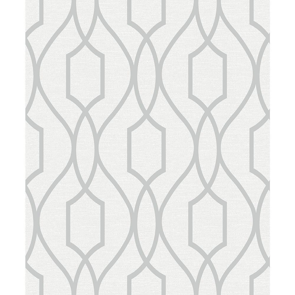 8 in. x 10 in. Evelyn Silver Trellis Wallpaper Sample
