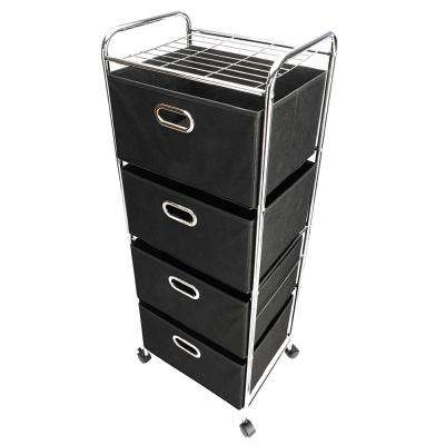 Non-woven Fabric Drawer 4-tier Carbon Steel Stoving Varnish Pipes Storage Cart in Black