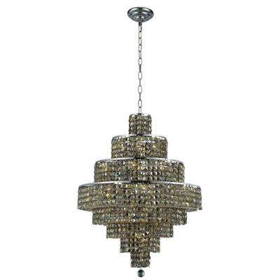 18-Light Chrome Chandelier with Golden Teak Smoky Crystal
