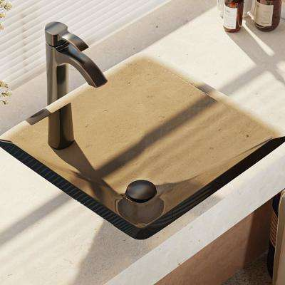 Glass Vessel Sink in Cashmere with R9-7006 Faucet and Pop-Up Drain in Antique Bronze