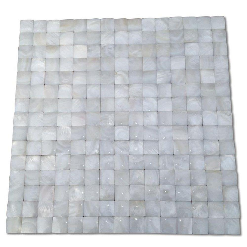 Ivy Hill Tile Mother of Pearl Nacre White 12 in. x 12 in. x 2 mm 3D Pearl Shell Glass Wall Mosaic Tile