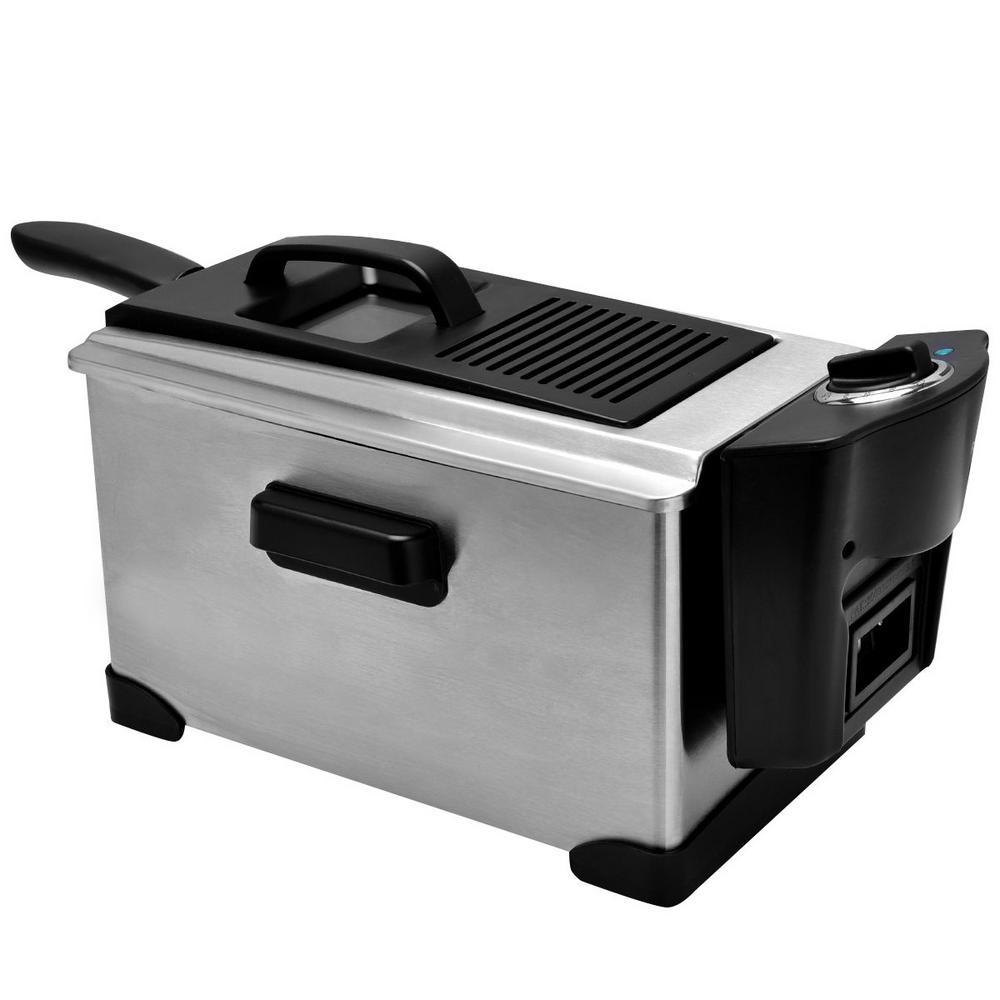 Electric Deep Fryer Stainless Steel 1600-Watt 3-1/2 Qt. with Temperature Control, Silver And Black Stainless Steel Electric Deep Fryer is perfect for commercial and home applications. One temperature controller controls tank separately. Single tank comes with stainless steel fryer basket and plastic handles for preventing scald. Large-capacity fryer basket accommodates a variety of foods. It makes healthy cooking easier. Color: Silver and Black.