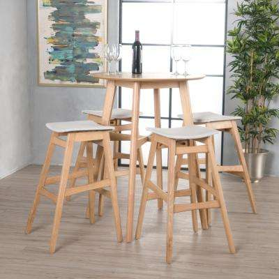 5-Piece Natural Oak Wood and White Fabric Counter Height Dining Set