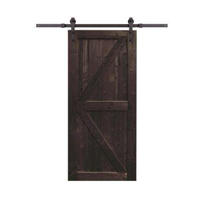 36 in. x 84 in. Spruce Wood Distressed Smoke Sliding Barn Door with Hardware Kit