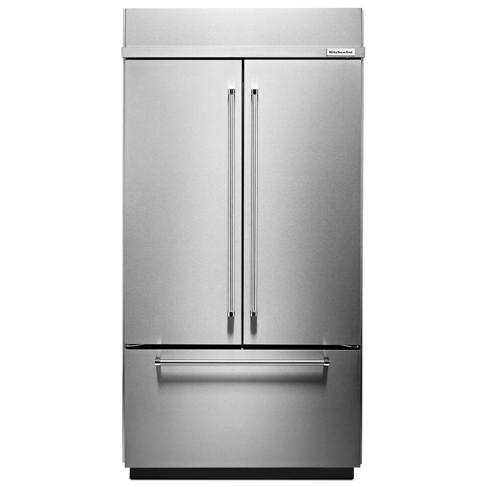 Kitchenaid 42 in w 24 2 cu ft built in french door for Outdoor kitchen refrigerators built in