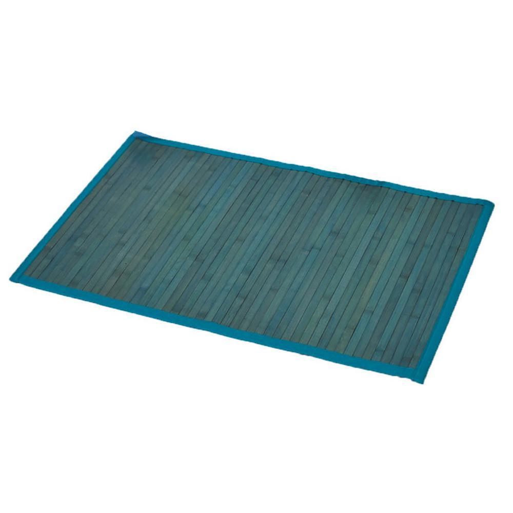 Blue 31.5 in. L x 20 in. W Bamboo Rug Bath Mat Anti Slippery