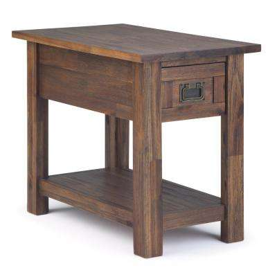 Monroe Solid Acacia Wood 14 in. Wide Rustic Contemporary Narrow Side Table in Distressed Charcoal Brown