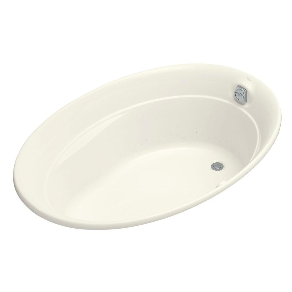 Serif 5 ft. Acrylic Oval Drop-in Whirlpool Bathtub in Biscuit