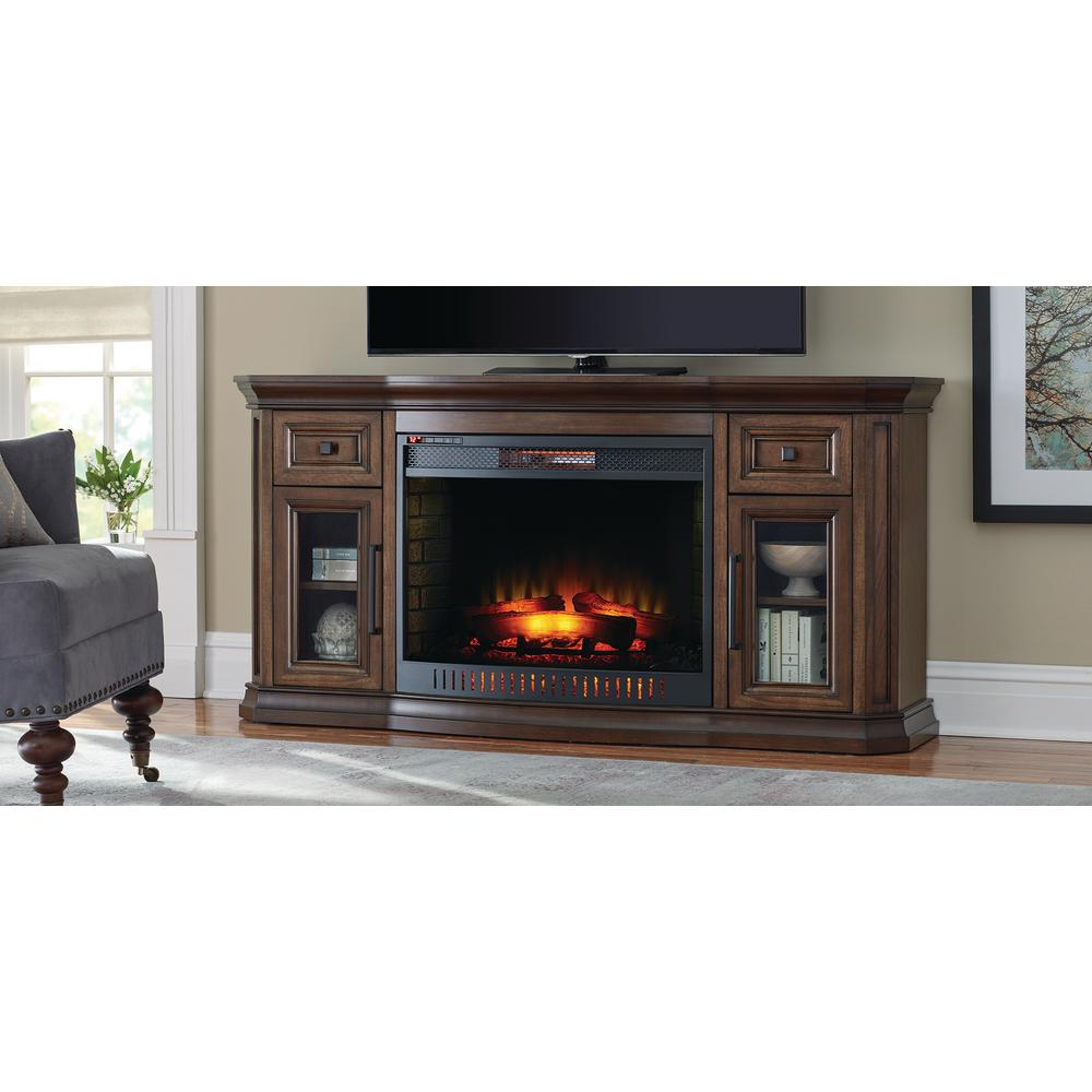 innovative design 990c8 de2ab Home Decorators Collection Georgian Hills 65 in. Bow Front TV Stand  Infrared Electric Fireplace in Oak