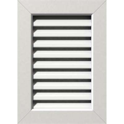 17 in. x 35 in. PVC Functional Vertical Gable Vent with Flat Trim Frame Unfinished (12 in. x 30 in. Rough Opening)